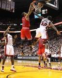 Chicago Bulls v Miami Heat - Game Four, Miami, FL - MAY 24: Derrick Rose, Joel Anthony and LeBron J Foto af Mike Ehrmann