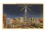 Nacht, Turm des Union Terminal, Cleveland, Ohio Kunstdrucke