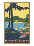 Art Deco Poster, Central Park Scene, New York City Posters