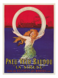 Tire Advertisement with Mermaid Kunstdrucke