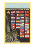 Statue of Liberty, UN Flags, New York City Prints
