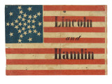 Lincoln and Hamlin Campaign Flag Poster