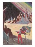 Astronaut Painting Martian Landscapte Taide