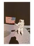 Astronaut with Flag on Moon Print