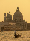 Gondola, Santa Maria Della Salute and Grand Canal at Sunset, Venice, Italy Photographic Print by Jon Arnold