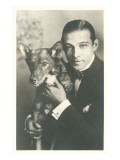 Rudolph Valentino with Dog Pósters