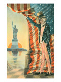 Uncle Sam Viewing Statue of Liberty Posters