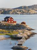 Bathing in Sea, Skarhamn on Island of Tjorn, Bohuslan, on West Coast of Sweden Fotografie-Druck von Peter Adams