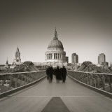 Millennium Bridge and St. Paul's Cathedral, London, England Photographic Print by Jon Arnold