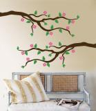 Pink Cherry Blossom Branch Muursticker
