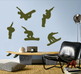 Snowboarders - Army Green Wall Decal