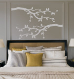 2 Grey Branches With Leaves Autocollant mural