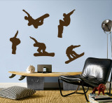 Snowboarders - Brown Wall Decal