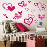 Bright Pink Pattern Hearts Väggdekal