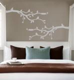Grey Branch With Birds Muursticker