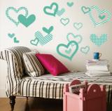 Aqua Pattern Hearts Väggdekal