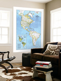 1979 The Americas Map Wall Mural by  National Geographic Maps