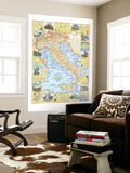 1970 Travelers Map of Italy Vægplakat af  National Geographic Maps