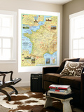 1971 Travelers Map of France Wall Mural by  National Geographic Maps