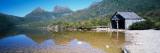 Boathouse at the Lakeside, Dove Lake, Cradle Mountain-Lake St Clair National Park, Tasmania Fotografisk trykk