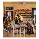 """Getting Ready for School,"" February 26, 1949 Giclee Print by John Falter"