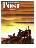 """Tractors at Sunset,"" Saturday Evening Post Cover, October 3, 1942 Giclee Print by Arthur C. Radebaugh"