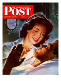 """Lighting His Cigarette,"" Saturday Evening Post Cover, October 23, 1943 ジクレープリント : ジョン・ホイットコム"
