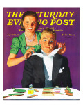 """""""Tying a Tux Tie,"""" Saturday Evening Post Cover, April 26, 1941 Giclee Print by John Hyde Phillips"""