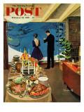 """Snow Buffet Party,"" Saturday Evening Post Cover, February 20, 1960 Gicléetryck av Thornton Utz"