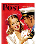 """""""Naval Officer & Woman,"""" Saturday Evening Post Cover, August 8, 1942 Giclee Print by Jon Whitcomb"""
