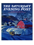 """""""Mail Wagon in Snowy Landscape,"""" Saturday Evening Post Cover, March 14, 1942 Giclee Print by Dale Nichols"""
