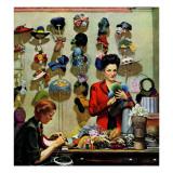 """Millinery Shop,"" March 10, 1945 Giclée-vedos tekijänä John Falter"