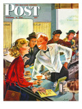 """Flirting Soda Jerk,"" Saturday Evening Post Cover, October 11, 1947 Giclée-Druck von Constantin Alajalov"