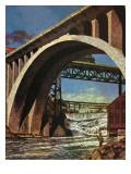 """""""Fishing Under Bridge,"""" June 12, 1948 Reproduction procédé giclée par John Atherton"""