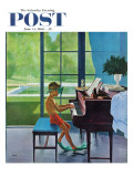 """Poolside Piano Practice,"" Saturday Evening Post Cover, June 11, 1960 Toile tendue sur châssis par George Hughes"