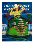 """Bumper Cars,"" Saturday Evening Post Cover, June 22, 1940 Giclee Print by Albert W. Hampson"