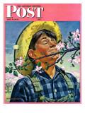 """""""Apple Blossoms,"""" Saturday Evening Post Cover, May 6, 1944 Reproduction procédé giclée par Howard Scott"""