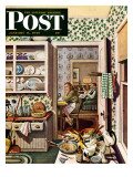 """After Dinner Dishes,"" Saturday Evening Post Cover, January 8, 1949 Reproduction procédé giclée par Stevan Dohanos"