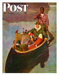 """Canoe Fishing Trip,"" Saturday Evening Post Cover, July 12, 1947 Gicléetryck av Mead Schaeffer"