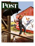 """Walking the Tightrope,"" Saturday Evening Post Cover, June 11, 1949 Lámina giclée por Stevan Dohanos"