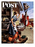 """Dinner Bell,"" Saturday Evening Post Cover, October 21, 1944 Giclée-Druck von Stevan Dohanos"
