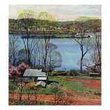 """Ohio River in April,"" April 15, 1961 Giclee Print by John Clymer"