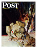 """Medic Treating Injured in Field,"" Saturday Evening Post Cover, March 11, 1944 Gicléetryck av Mead Schaeffer"