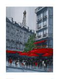 Street Café, Paris Giclee Print by Geoff King