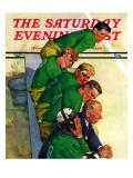 """""""Team on Bench,"""" Saturday Evening Post Cover, November 23, 1940 Giclée-Druck von Emery Clarke"""