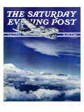 """""""Flight Above Clouds,"""" Saturday Evening Post Cover, August 17, 1940 Giclee Print by Clyde H. Sunderland"""