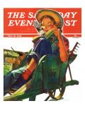 """Gardener in Wheelbarrow,"" Saturday Evening Post Cover, May 10, 1941 ジクレープリント : ドミニス・カメロタ"