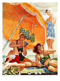 """Card Game at the Beach,"" August 28, 1943 Giclee Print by Alex Ross"