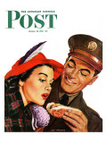 """""""Hot Dog for a Hot Date """" Saturday Evening Post Cover  October 10  1942"""
