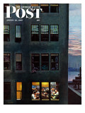 """Office Poker Party,"" Saturday Evening Post Cover, August 18, 1945 Giclee Print by John Falter"